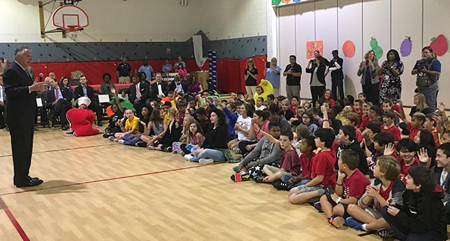 Governor Terry McAuliffe addressed students during the Feed Virginia Day of Action and Healthy Child Event at General Stanford Elementary School.