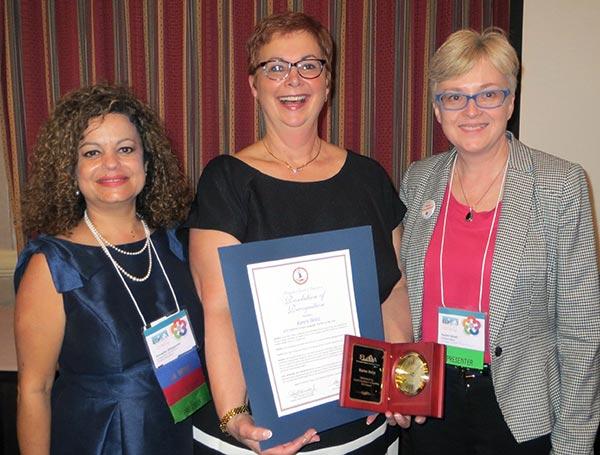Annette Waggoner, FLAVA President; Karen Heist; Helen Small, NNPS World Languages Instr. Supervisor