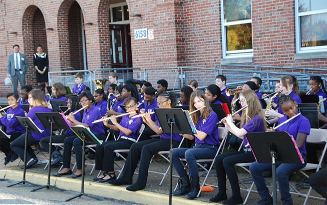 The Crittenden Middle School Band performed at an open house event at their school.