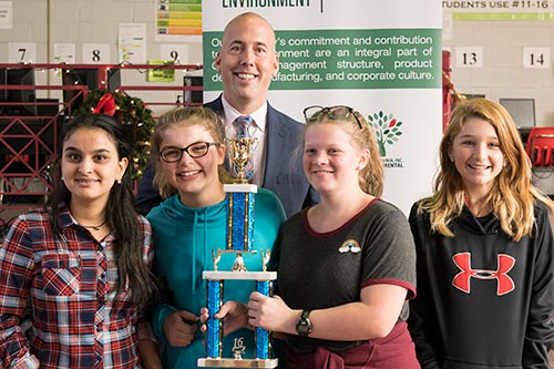 Dozier Middle School's seventh-grade design team won the challenge for their division.