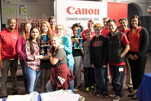 The winning design teams with Canon Virginia, Inc. engineers and representatives.